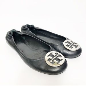 Tory Burch Reva Flats Gold and Black